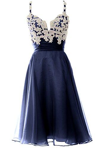 MACloth Women Strap Short Lace Chiffon Cocktail Dress Short Prom Formal Gown Dunkelmarine