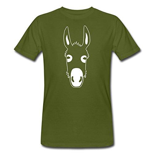 Spreadshirt Esel Kopf Männer Bio-T-Shirt, M, Moosgrün - Kopf Grün T-shirt