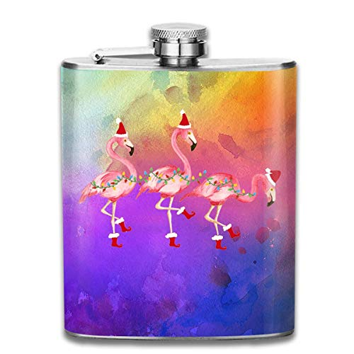 stainless steel flask Watercolor Flamingos with Xmas Hat 7 Oz Stainless Steel Flask