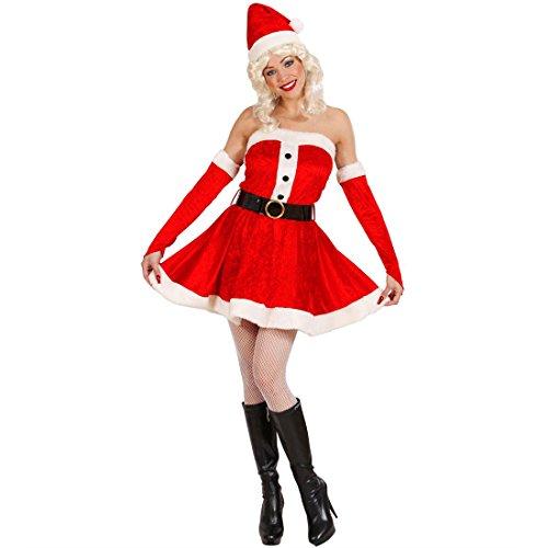 Amakando Freches Weihnachtskleid Sexy Weihnachtsfrau Kleid L 42/44 Damen Nikolauskleid aus Samt Frau vom Weihnachtsmann Verkleidung Minikleid