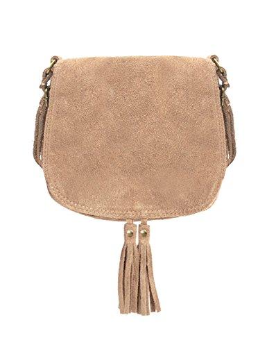 Ledertasche beige klein Lederhandtasche Umhängetasche Fransen echt Leder Tasche Wildleder Handtasche Vintage Damen 5-litau (Handtasche Wildleder Vintage)