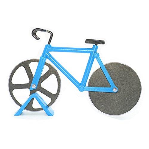 Bicicletta dell'acciaio inossidabile taglierina della pizza, SNAKE M Pizza lame con rivestimento antiaderente Serveware con cavalletto (blu)