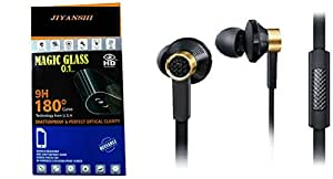 Jiyanshi Combo of Screen Guard / Screen Protector & Earphone With Super Sound (Black) Compatible For Lenovo K5 Note