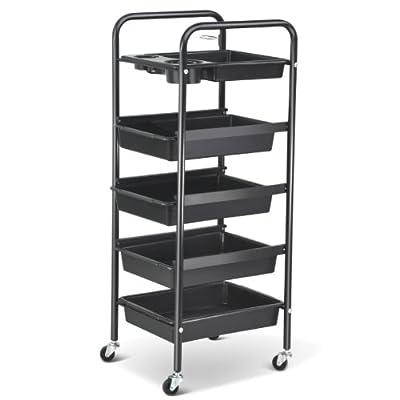 Popamazing Salon 5 Drawer Storage Trolley Hairdresser Shelf Trolley Cart with Castors