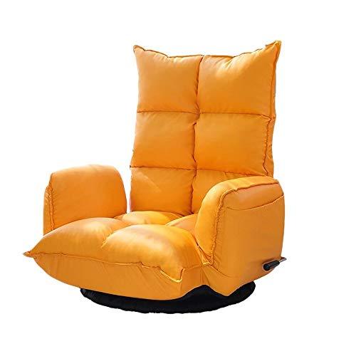 Gepolsterte Leder-club Sessel (KJRJSF Single Recliner Stuhl Gepolsterte Sitzfläche PU Leder Wohnzimmer Sofa Recliner Moderne Recliner Sitz Club Stuhl Heimkino Sitz (Color : Orange))