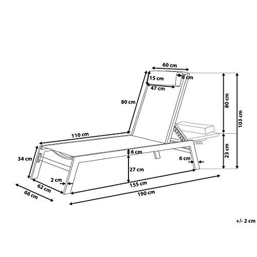Beliani Gartenliege Aluminium Textilbespannung Weiss Catania II - 5