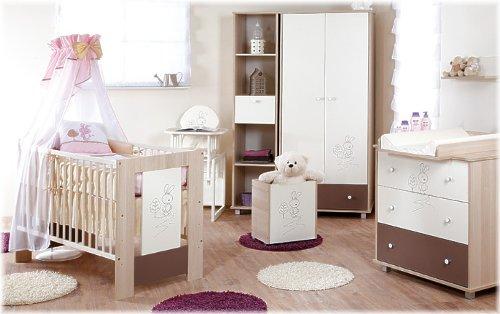 Babybett -Häschen- Rosa inkl. Wickelkommode, Lattenrost, Matratze, Bettwäsche Komplettset 12 Teile
