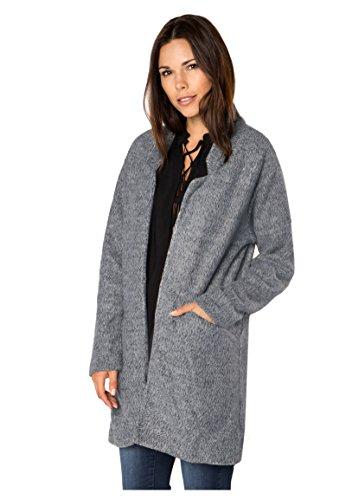 Sublevel Damen Mantel aus kuscheligem Sweat   Eleganter offener Mantel Dark-Grey L