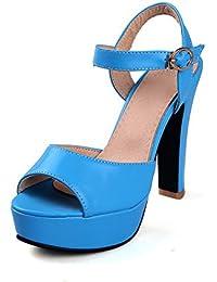 VogueZone009 Mujeres Sólido Tacón Ancho Hebilla Peep Sandalia de Tacón, Azul, 33