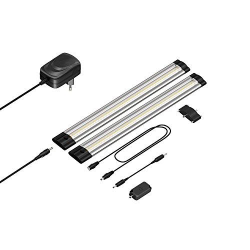 parlat LED Unterbau-Leuchte Siris, Touch-Dimmer, flach, 30cm, 220lm, weiß, 2er Set