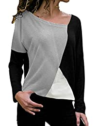 Blusa Moda Patchwork Casual para Mujer Color Block O-Neck Manga Larga Camiseta Tops ❤