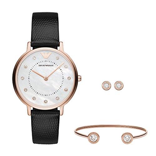Emporio Armani Damen Analog Quarz Uhr mit Leder Armband AR80011