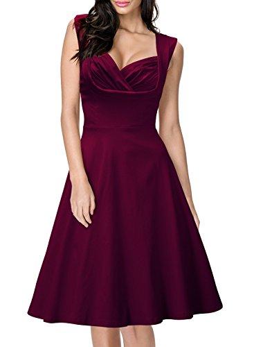Miusol Damen Aermellos Sommerkleid 1950er Retro Cocktailkleid Petticoat Faltenrock Kleid Weinrot Groesse XXL -