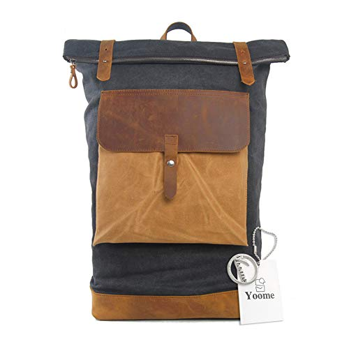 Yoome Vintage Rucksack Leder Canvas Rucksack Fit 39,6cm Laptop Multifunktions Schule Schultasche Reisetasche Beige Dunkelgrau One_Size