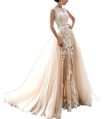 FairyBridally Damen Vintage 2018 Cap Sleeve Abnehmbarer Zug Tüll Brautkleid Brautkleider