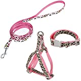 Youthlikewater Pet Products Dog Collar Lead Set Leopard Adjustable Dog Leash Puppy Harness Durable Dog Accessories Cat Collar,Pink,S,China