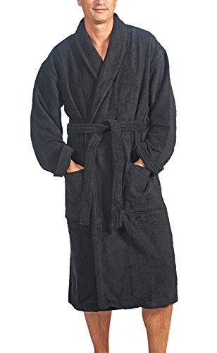 Linie-Naturelle - Peignoir de bain en Tissu Éponge: taille XL, noir