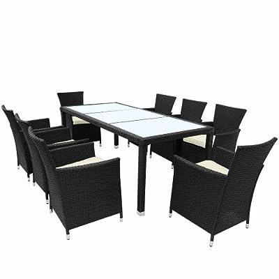 Miadomodo® STZG30swz/mw/03 Rattan Gartengarnitur 8+1 schwarz / weiß Tisch: ca. L190 x B90 x H75 cm; Stuhl: L56,5 x B59 x H83cm
