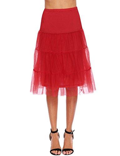 Chigant Damen Petticoat Unterrock mit Breitem Gummiband Tüll Reifrock für Vintage Retro Rockabilly...