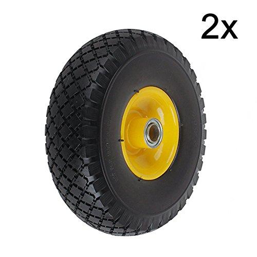 Preisvergleich Produktbild YAOBLUESEA 2 Stück PU Rad Reifen Vollgummi Ersatzrad Sackkarre 360x75mm 3.00-4 Pannensicher 20 mm PU Rad Max 130kg