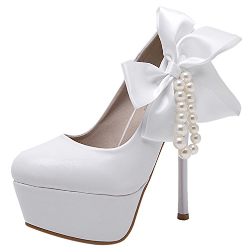 Oasap Women's Round Toe Platform High Heels Bow Pumps white