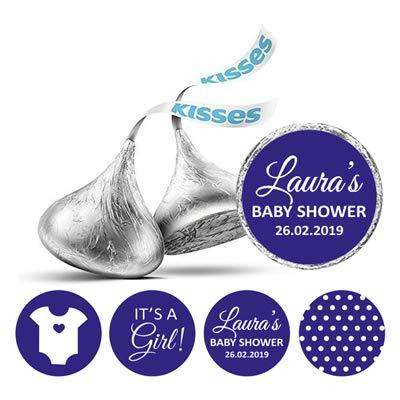 Pcs Es ist ein Mädchen Theme individuelle Aufkleber für Hershey Kisses Süßigkeit Labels-Blau ()