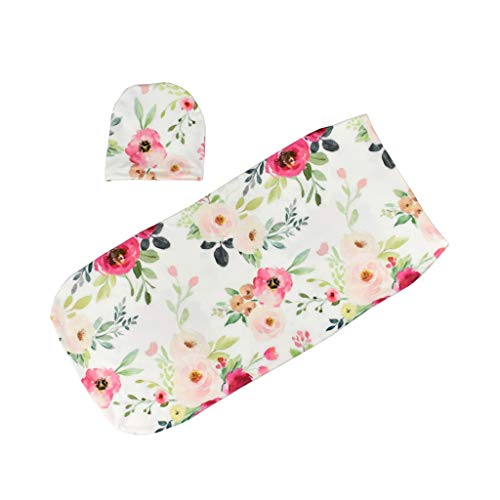 Qiman Baby Swaddle Decke + Mütze Newborn Cocoon Wrap Baumwolle Swaddling Bag Baby...
