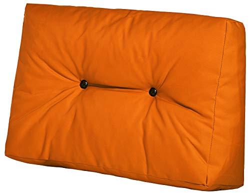 Easysitz Palettenkissen Set Palettensofa Palettenpolster Palettenauflagen Sofa Kissen Polster Auflage Indoor Outdoor Gesteppt für Europaletten Euro Palette 120 x 80 cm (Seitenkissen, Orange) -