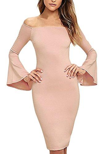 Vestito a Tubino Abiti Vestiti Eleganti Puro Colore Abito Donna a Maniche Tromba Spalla Nuda Abiti Cocktail Ginocchio-Lunghezza Vestitini di Parola Banchetto Rosa