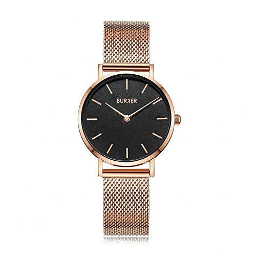 Burker Ruby Jr. - Damenuhr Gold | 33mm goldene Uhr für Damen mit Ziffernblatt | Frauen Quarz Armbanduhr wasserdicht (30M) | Kleines Flaches Watch Gehäuse - Uhren Armband inklusive