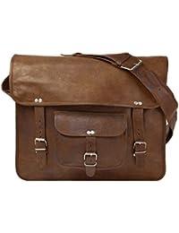 Pranjals House 10 X13x4 Handmade Real Goat Leather Messenger Bag Satchel Laptop MacBook Crossbody Bag