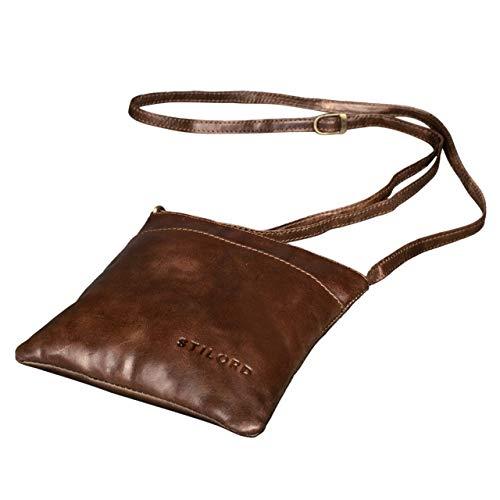 STILORD 'Lana' kleine Umhängetasche Damen Ausgehtasche Schultertasche Handtasche echtes Büffel Leder Vintage Design, Farbe:antik - braun -