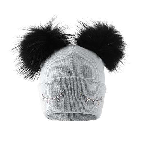 Strickmütze, Winter Beanie Hut, Federnd Verdicken Mützen Geeignet Für Frauen, Eine Größe (Farbe : Gray) (Frauen Für Große Stricken Mützen)