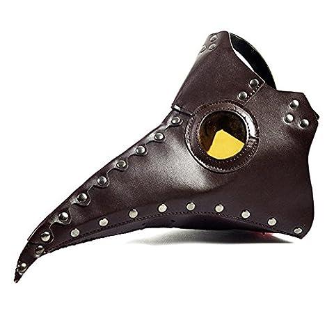 Cestlafit Steampunk Pest Vogel Maske von Retro mittelalterlichen Doktor Gothic Vintage Kostüm, Halloween Party Cosplay Dekoration Zubehör, Braun