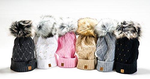 Femme Beanie Cristaux Chapeau Hat Crystal Grande fourrure pom pom Bonnet d'hiver chaud doublure polaire (Black) MFAZ Morefaz Ltd Black