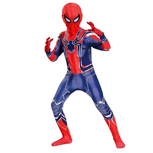 Mann Stahl Eisen Kostüm - NDHSH Cosplay Stahl Spider-Man Avengers Kostüm Kind Erwachsene Overall Outfit Weihnachten Thema Parteien Festival Geschenk,Blue- 170 Yards