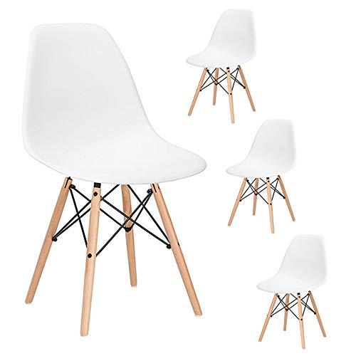 SPRINGOS - Milano 4x Skandinavische Stühle-Set Retro Design für Wohnzimmer Esszimmer Küche Büro (Weiss)