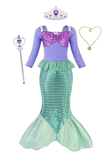 au Kostüm Kleid Kinder Mädchen Ariel Kostüme Prinzessin Kleider Abendkleid Halloween Cosplay Verrücktes Kleid Geburtstag Party Ankleiden, Grün mit Dekorationen, 7-8 Jahre ()