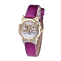 Webla Women Girls Cute Glasses Cat With Sparkle Tie Faux Leather Watch Quartz Bracelet Wrist Watches (Purple)