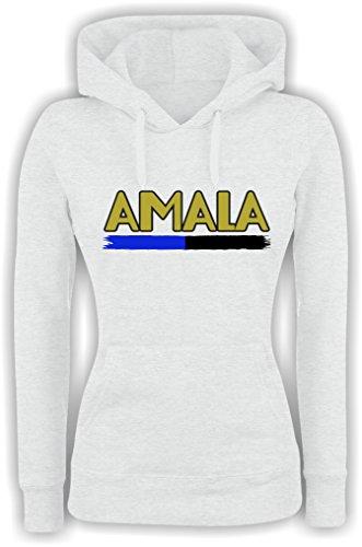 Felpa DONNA Con Cappuccio BASIC top qualità top vestibilità - AMALA 2 divertente humor MADE IN ITALY Bianco