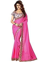 Greenvilla Designs Pink Chiffon Partywear Saree