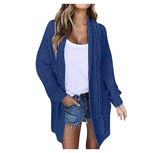 ➤Refill➤Strickjacke Damen Grobstrick Strickmantel strickcardigan Damen Herbst Winter Casual Open Front Sweater Cardigan Cover Up Patchwork Outwear mit Taschen Mantel Jacke