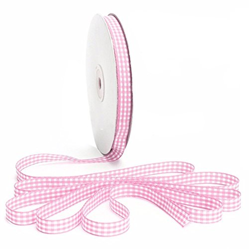 Gingham Ribbon - SODIAL(R)45m Full Reel Cut Lengths Gingham Ribbon Sewing Crafts, 6mm Wide Light Pink