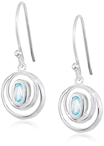 Elements Sterling Silver, Ladies, E4420T, Wrap-Around Double Loop with Sky Blue Topaz Earring