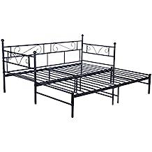 EGGREE Tagesbett Versailles Weiß Metall Single Sofa Optionen Für Ausziehbett,  Tagesbett Mit Unterbett Trundle,