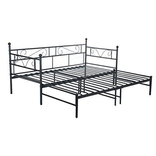 EGGREE Cadre de lit en Métal Structure lit Banquette en + lit gigogne avec sommier pour Enfants ou Adulte Noir