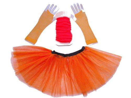 Just-4-Fun-Leisurewear-3-Layer-Tutu-Set-Leg-Warmer-Fishnet-Gloves-Size-8-To-16