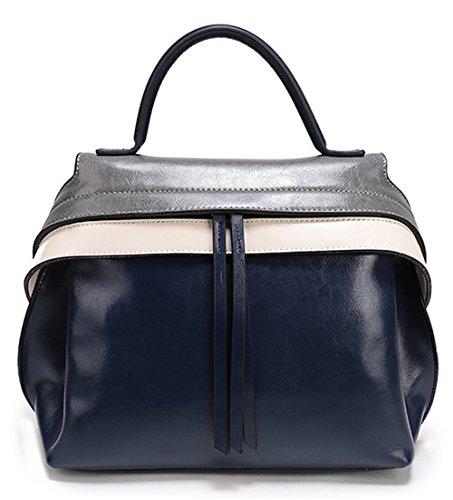 Xinmaoyuan Handtaschen der Frauen tragbaren Leder nähen Quaste Tasche Damen Freizeit Obliquer Querschnitt Paket Blau