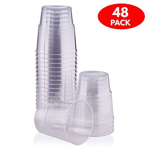 48er Set: Einweg Dessertschalen & Dessertbecher aus transparentem Plastik – Plastikbecher, Einwegbecher & wiederverwendbare Dessert Becher aus Hartplastik/Kunststoff – Party & Catering Einweggeschirr