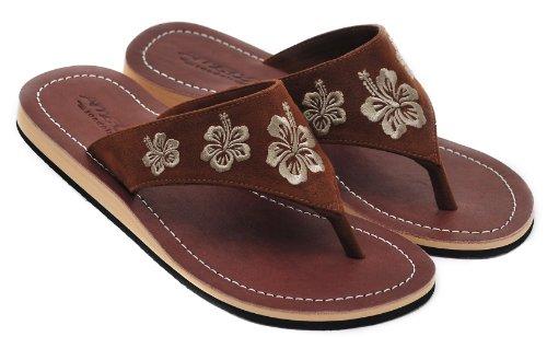 Amboss Damen Sandalen mit Echt Leder und Hibiskusblütendesign Gr.37-43 Braun